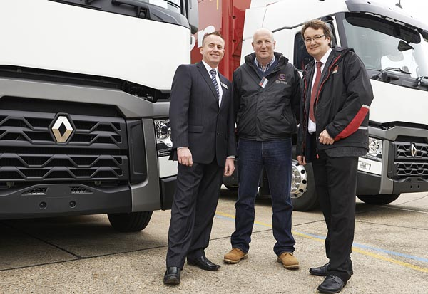 Paul Ralph, Sales Manager Midlands and South West, BRS; Clive Cowern, Managing Director, Clive Cowern Transport Services and Steve Parry, Sales Executive, Renault Trucks Midlands.