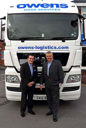 Phil Bennett, British Lions and Scarlets legend, and Huw Owen, Managing Director of Owens Road Services