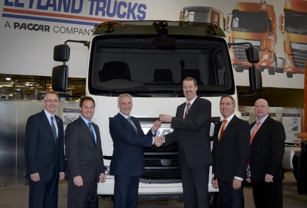 Left to right: Peter Jukes, Operations Director, Leyland Trucks; Ron Augustyn, Managing Director, Leyland Trucks; Chris Miller, Managing Director, Leeds Commercial; Harrie Schippers, President, DAF Trucks NV; Ray Ashworth, Managing Director, DAF Trucks UK; Bob Bosco; Fleet and Key Accounts Sales Manager, Chatfields Leeds.